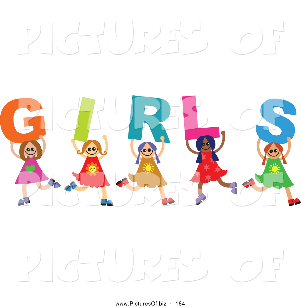 Vector Clipart of a Diverse Group of Children Kids Spelling Girls