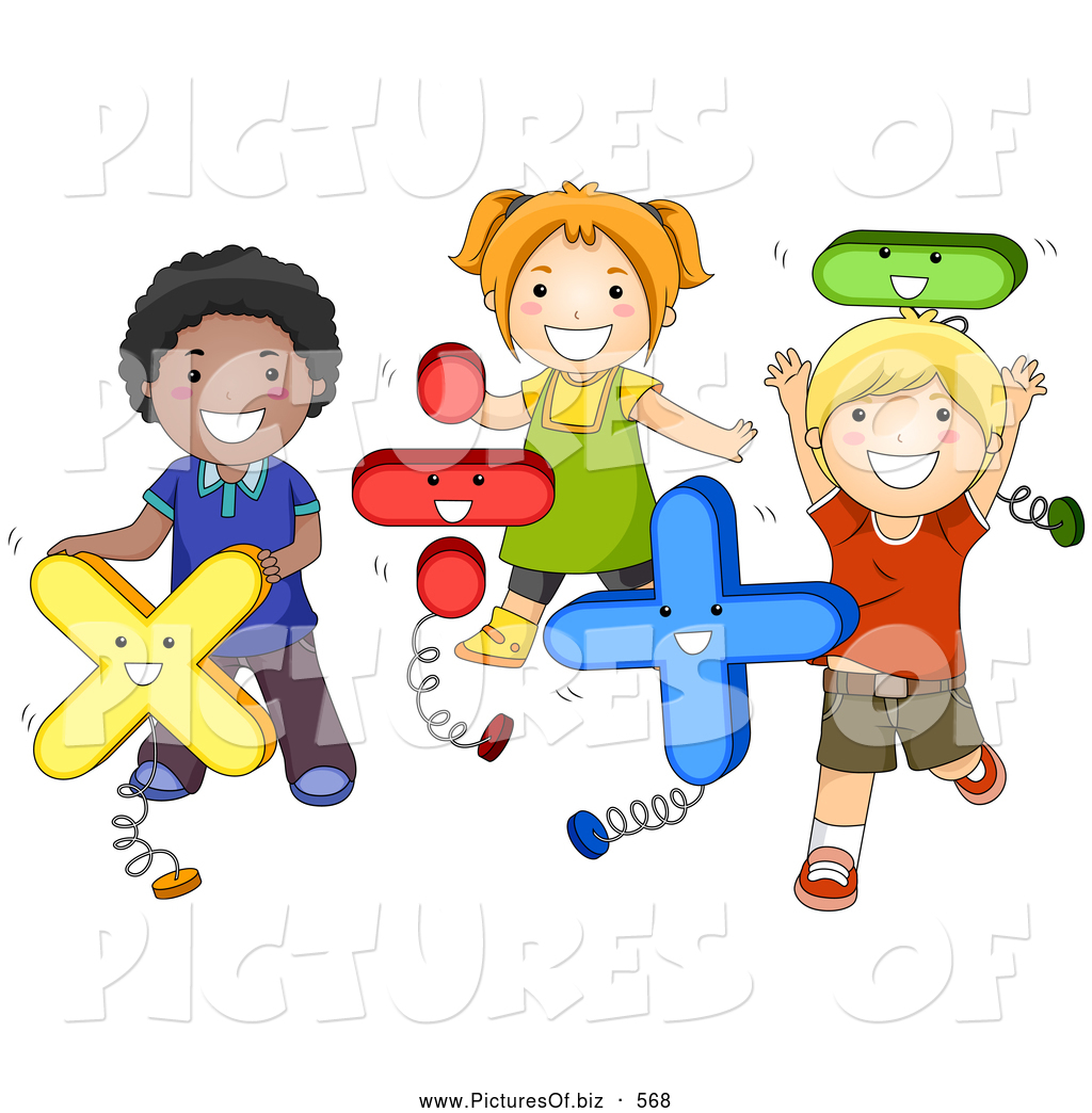 vector clipart of a diverse school children playing with math shapes - Images Of Children Playing At School