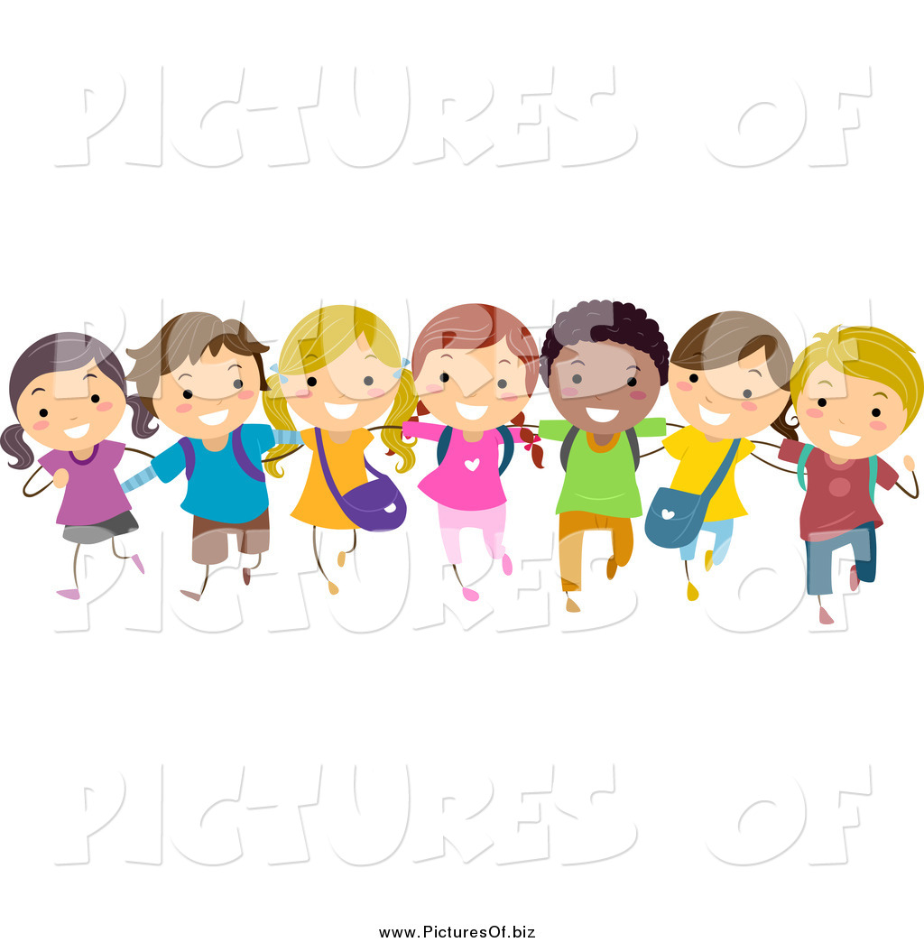 Vector Clipart Of A Diverse Stick Children In A Line By