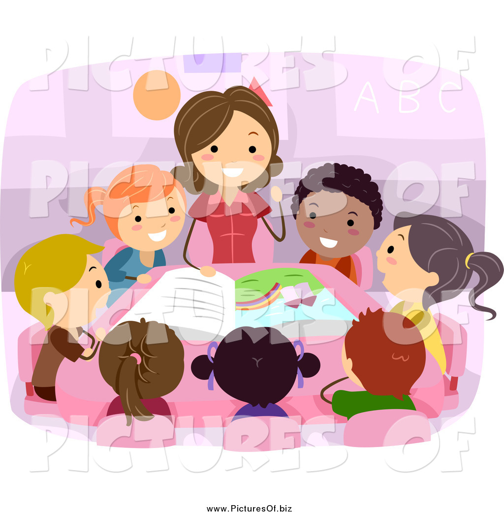 Vector Clipart of a Female Teacher Reading to Diverse ...