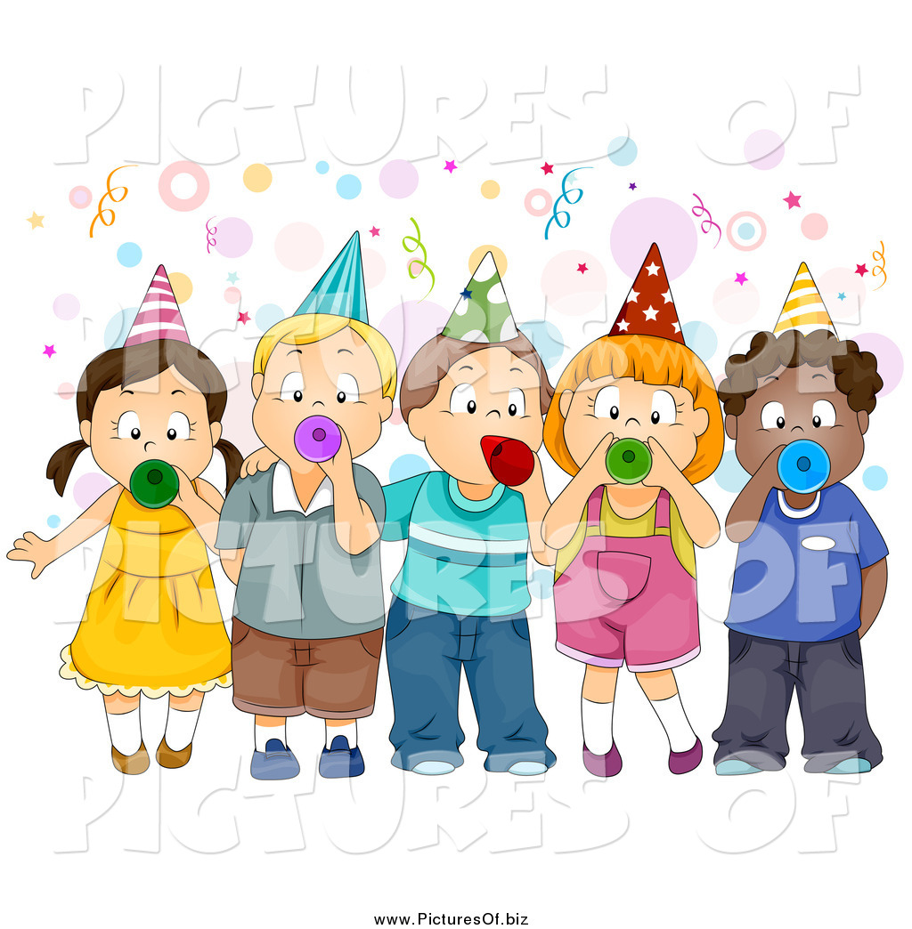 Vector Clipart Of A Group Children Blowing Party Horns