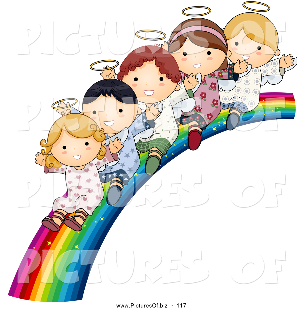 vector clipart of a group of cute angels waving and riding down a, Powerpoint templates