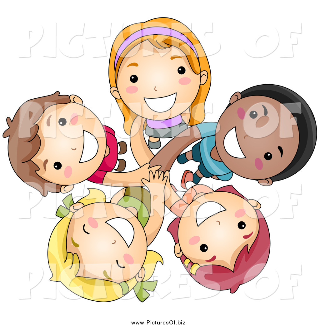 Vector Clipart of a Group of Happy Diverse Kids Looking up ...