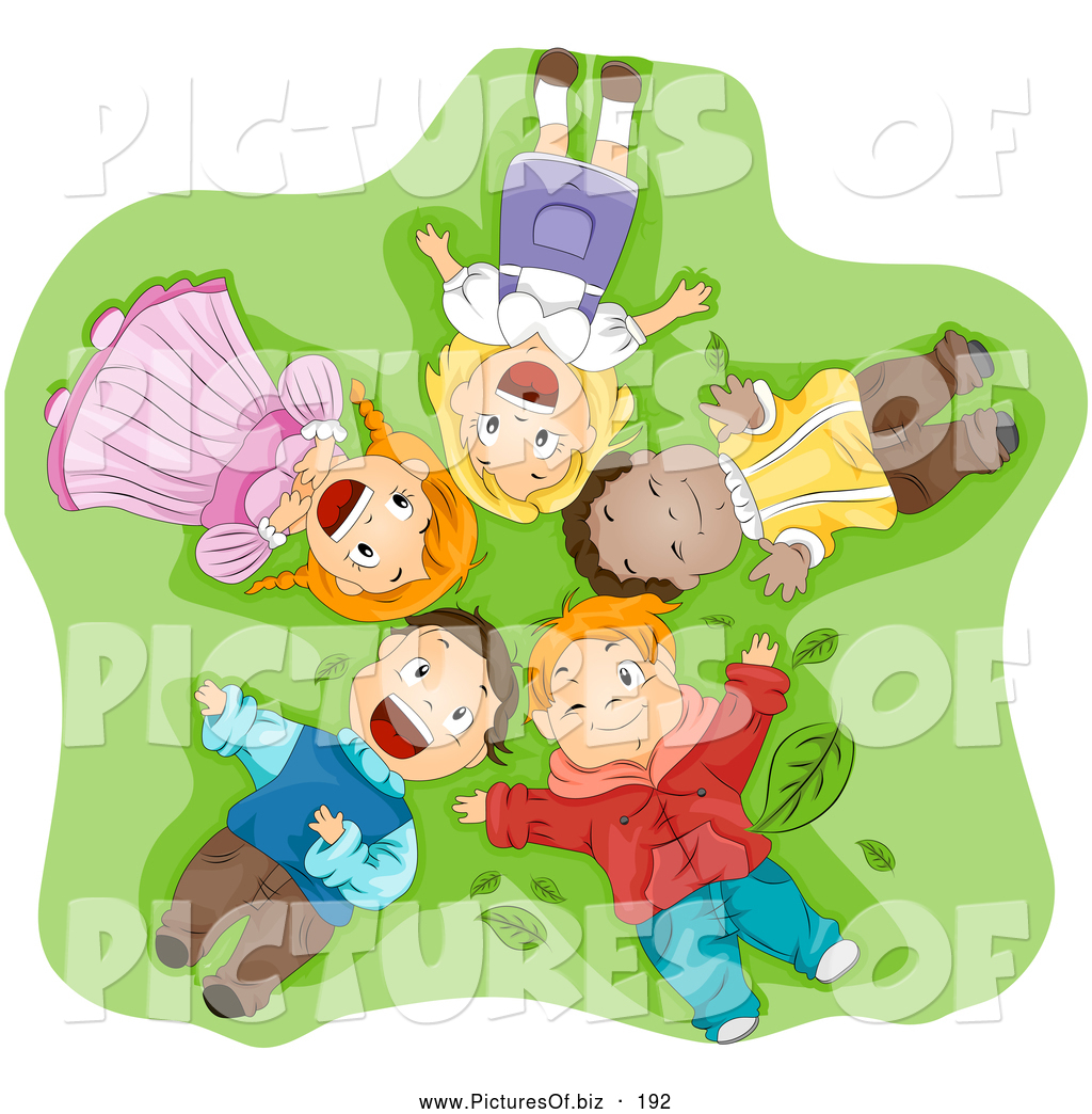 Vector Clipart Of A Group Of Smiling Happy Diverse Children Laying On ...