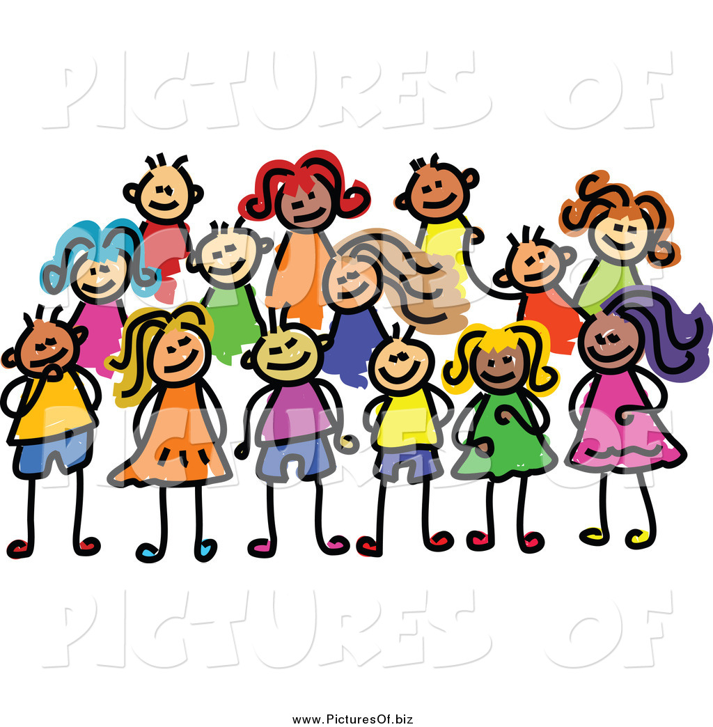Vector Clipart Of A Posing Group Stick Kids By Prawny