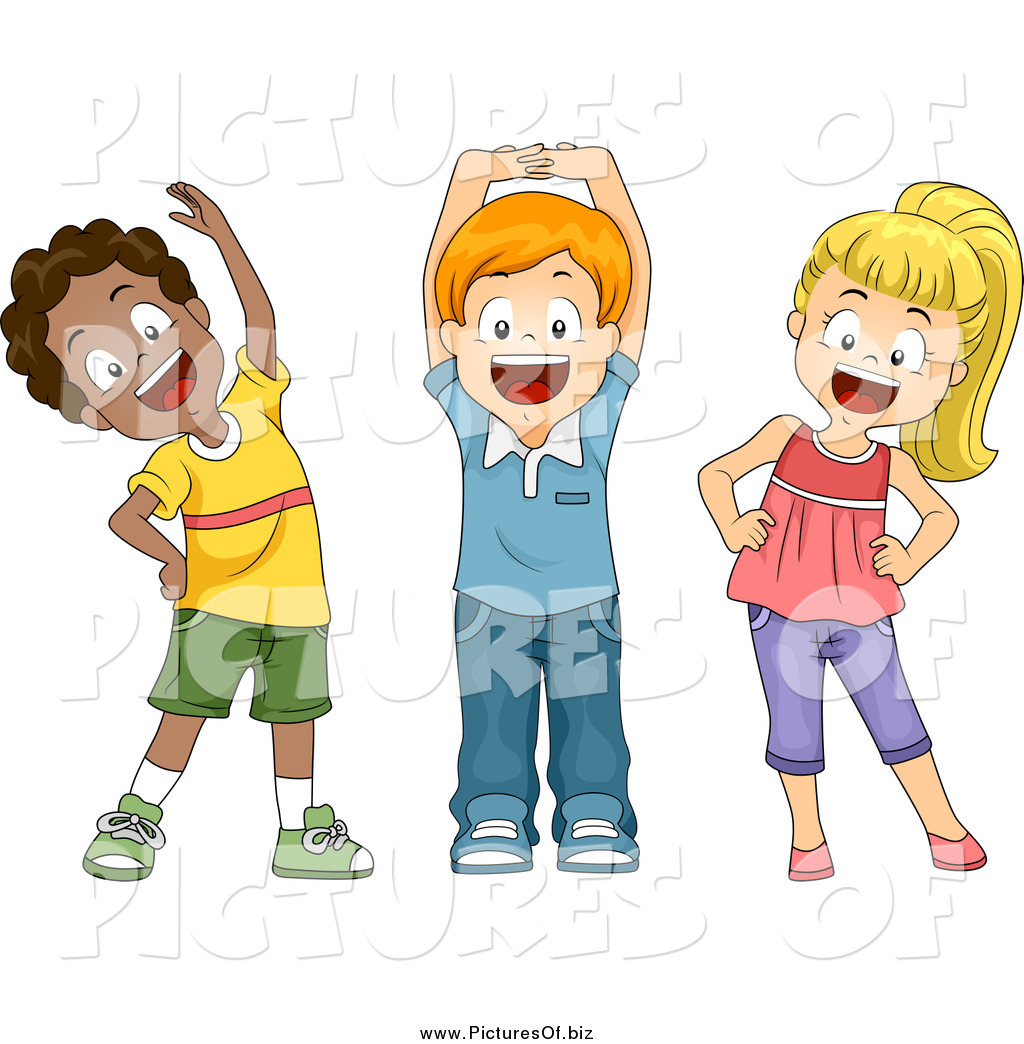 vector clipart of diverse happy school children stretching Student Clip Art Black and White Student Silhouette