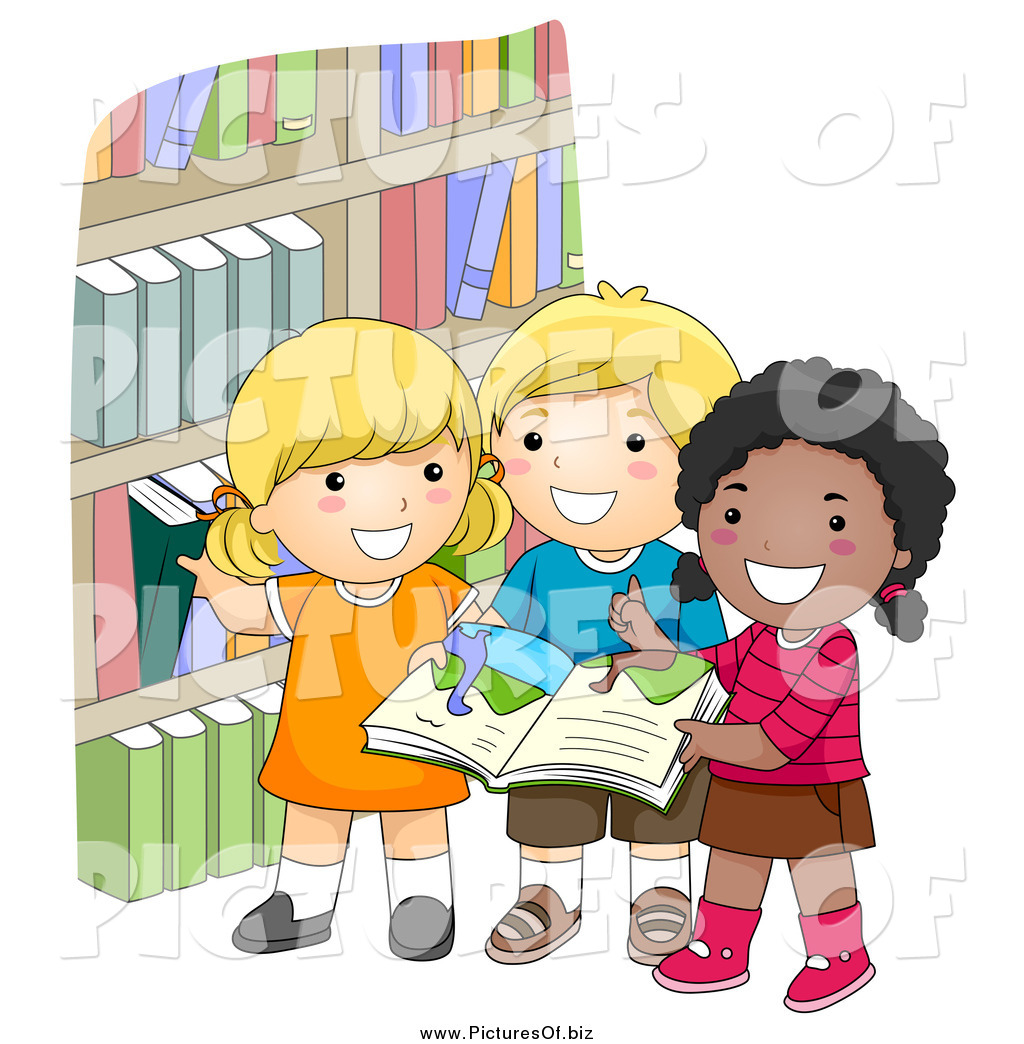 Vector Clipart of Diverse Happy School Kids Picking Books ...