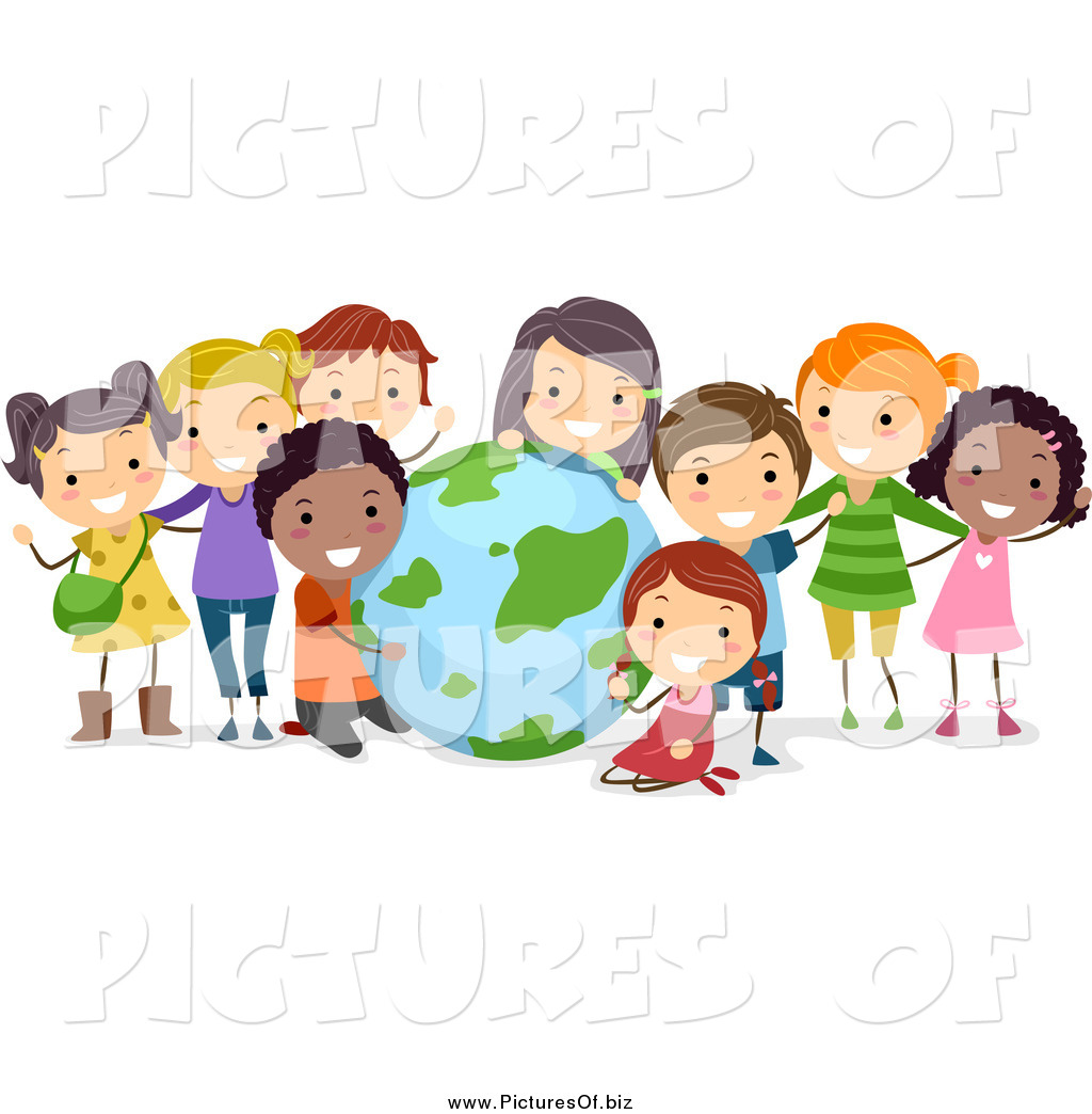 Vector Clipart of Diverse Students with a Globe by BNP ...