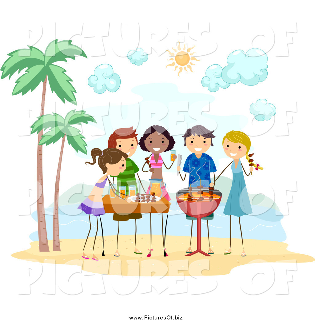 Vector Clipart Of Stick People Having A Bbq Beach Party