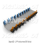 Clipart of 3d Blue and Orange People Sitting at a Meeting Table by 3poD