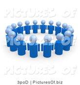 Clipart of 3d Blue People Standing in a Circle of Unity by 3poD