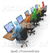 Clipart of 3d Colorful Computer Workers by 3poD