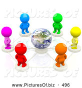 Clipart of 3d Colorful Diverse People Standing in a Netwrok Circle Around Earth by