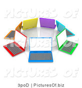 Clipart of 3d Colorful Laptops in a Circle by 3poD