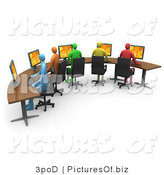 Clipart of 3d Colorful Office Workers Using Computers on a Curved Desk by 3poD