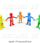 Clipart of 3d Colorful People Holding Hands in Support by 3poD