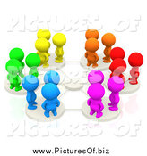 Clipart of 3d Colorful People on Network Pods by