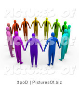 Clipart of 3d Colorful Unity People by 3poD