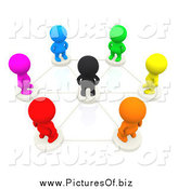 Clipart of 3d Connected Colorful People Around a Black Person in a Circular Social Network by