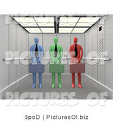 Clipart of 3d Diverse Business Men in an Elevator by 3poD