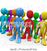 Clipart of 3d Diverse Colored People Standing in a Group by 3poD