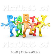 Clipart of 3d Diverse Party Headed People by 3poD
