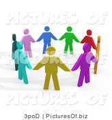 Clipart of 3d Diverse People Holding Hands by 3poD