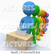 Clipart of 3d Diverse People in a Voting Line by 3poD