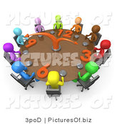Clipart of 3d Diverse People on a Tight Schedule Holding a Meeting About Labour Hours Around a Giant Clock Conference Table by 3poD