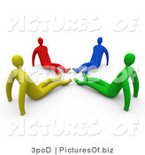 Clipart of 3d Diverse People Sitting with Their Legs in a Circle by 3poD