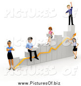 Clipart of 3d Diverse People Working on a Bar Graph by