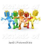 Clipart of 3d Diverse Present Head People Dancing by 3poD