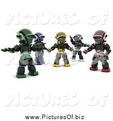 Clipart of 3d Diverse Robots by KJ Pargeter