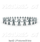 Clipart of 3d Gray People Holding Hands in a Unity Circle by 3poD
