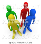 Clipart of 3d Green Red Blue and Yellow People by 3poD