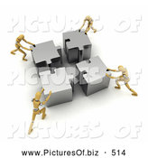 Clipart of 3d Mannequins Assembling a Silver Puzzle by Stockillustrations