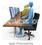 Clipart of 3d Office Workers at Computers by 3poD