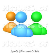 Clipart of 3d Orange Blue aNd Green Avatars by 3poD