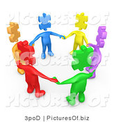 Clipart of 3d Puzzle Piece People Holding Hands in Unity by 3poD