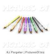 Clipart of 3d Sharped Colored Pencils by KJ Pargeter
