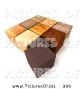 Clipart of 3d Wooden Blocks on White by Frank Boston
