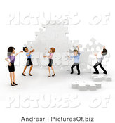 Clipart of a 3d Business Team Assembling a Puzzle by