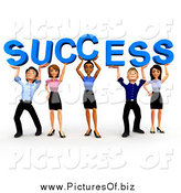 Clipart of a 3d Business Team Holding up SUCCESS by
