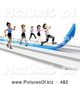 Clipart of a 3d Business Team Racing on Arrows by