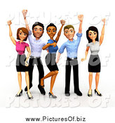 Clipart of a 3d Celebrating Diverse Business Team by