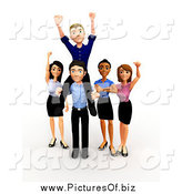 Clipart of a 3d Celebrating Diverse Successful Business Team by