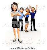 Clipart of a 3d Cheering Diverse Business Team by