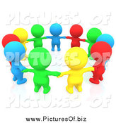 Clipart of a 3d Circle of Colorful People Holding Hands in a Circle by