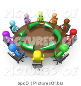 Clipart of a 3d Colorful Group of People Meeting About Running an Environmentally Friendly Company by 3poD