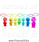 Clipart of a 3d Colorful People Talking in a Social Group by